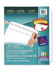 Avery Index Maker Clear Label Dividers 8-Tab, White 5 Sets [11437