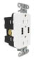 Hubbell power receptacle duplex (15A 125V) + 2x USB decora WHITE